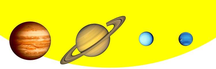 Les quatre planètes géantes gazeuses du système solaire, Jupiter, Saturne, Uranus et Neptune devant le limbe du Soleil, à l'échelle